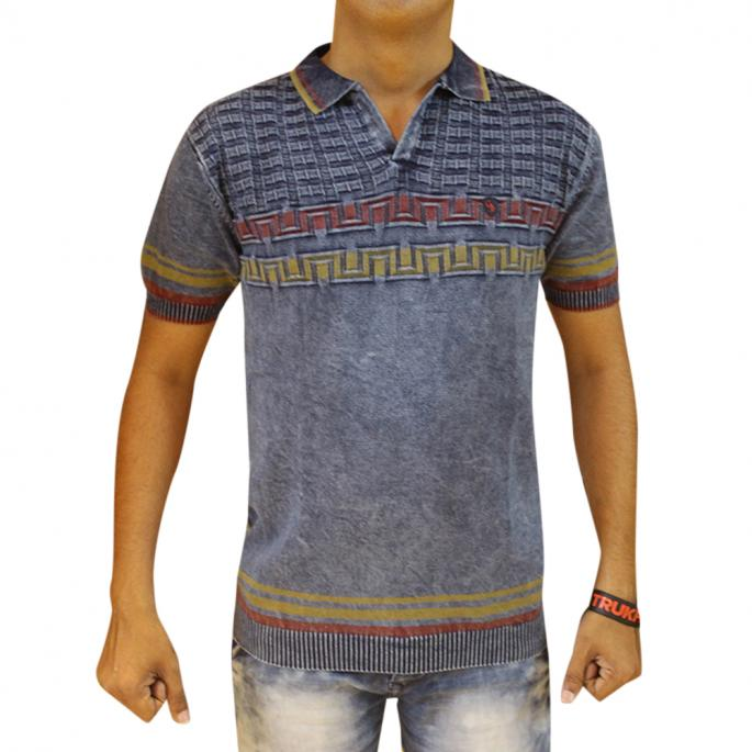 Self Design Blue T Shirt