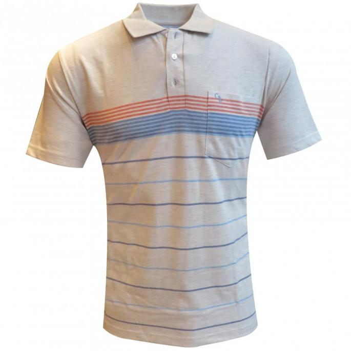 A STRIPE WHITE  TSHIRT WITH COLLAR & POCKET, A SOFT TOUCH OF THIS FABRIC WILL MAKE YOU FALL IN LOVE......