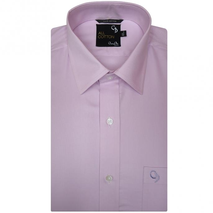plain pink cotton shirt,matching buttons and smart collar.An essential in your everyday wardrobe,wear it with a suit or just chinos.