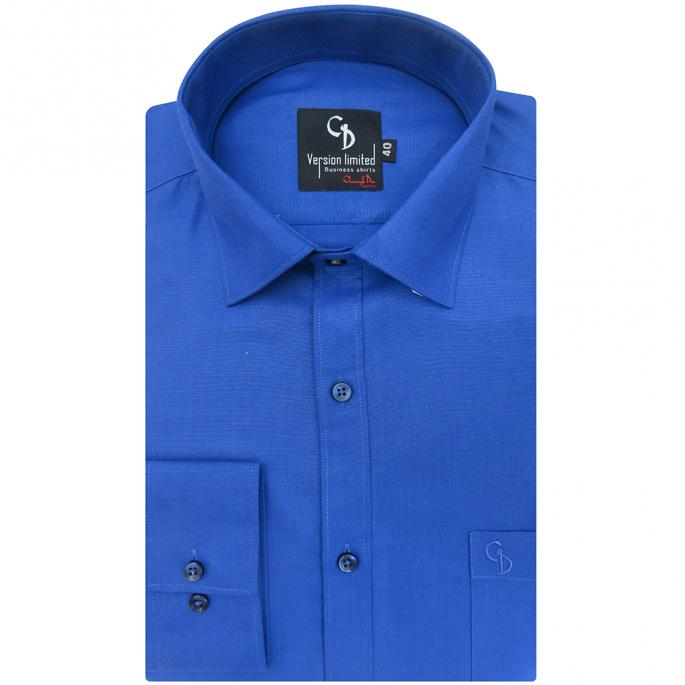 This plain blue  shirt is crafted from blended cotton,which gives it a luxuriously smooth texture and a soft feel against the skin.