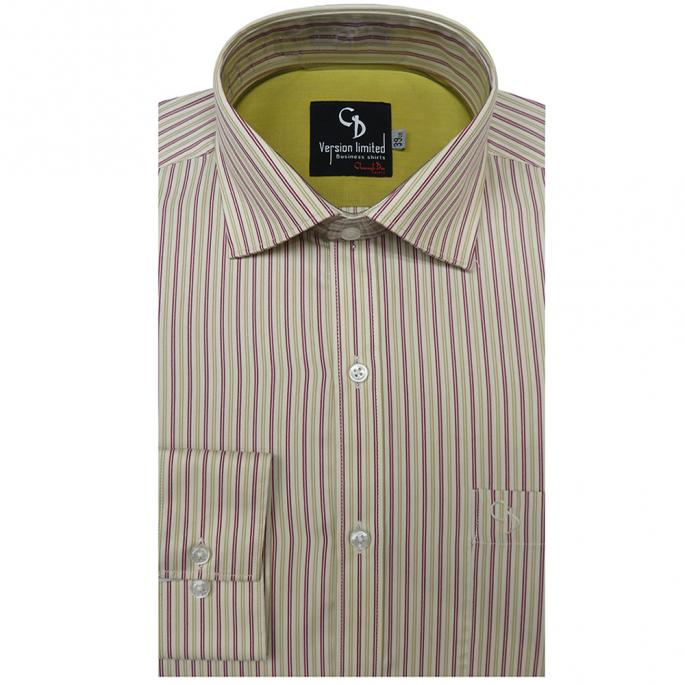 Red stripes on fawn base, plain green inside on the shoulder adds beauty to the shirt,overall this shirt offer you a classic english gentleman look