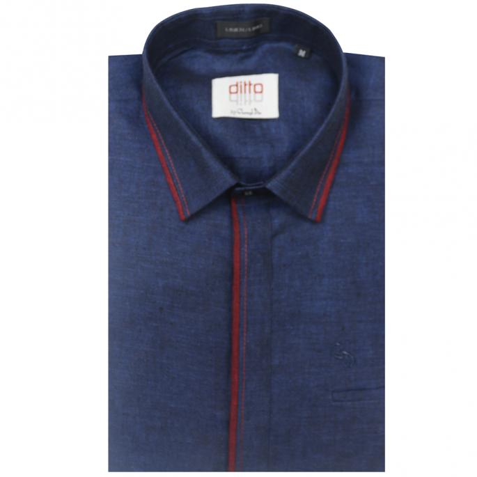 an irresistible linen navy blue kurti,with piping on front placket and collar in red,wear with khaki trousers for a fine look.