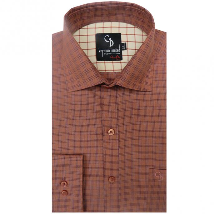 Classic check peach shirts,fawn check inside  the shoulder by charagh din,it is  a good way to bring some pattern into your suit or office wear.