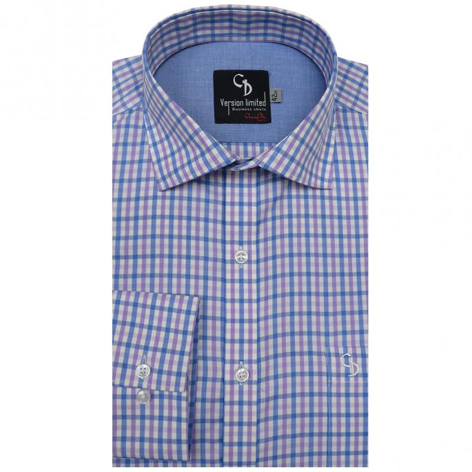 blue checks,Fetch compliments for your distinct taste in fashion by wearing this shirt with a pair of chinos and loafers for any formal occasion