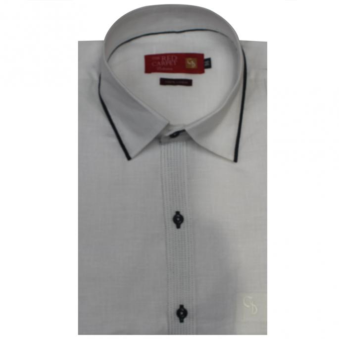 An amazing white linen shirt,with simple black saddle stitching on front placket,and both fronts,collar has black piping,a unique shirt indeed.