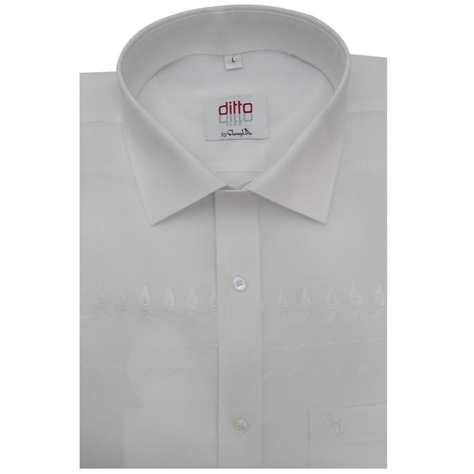 an irresistible white shirt,with simple embroidery on the chest,a shirt specifically made to be worn morning or evening.
