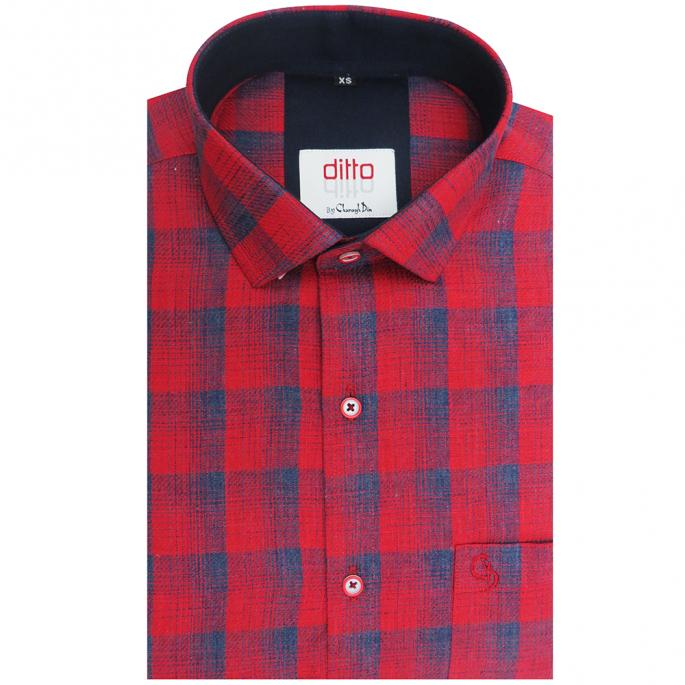 Casual maroon and blue check shirt,with small collar,inside plain navy,interesting variety to make you look stylish on any occasion.