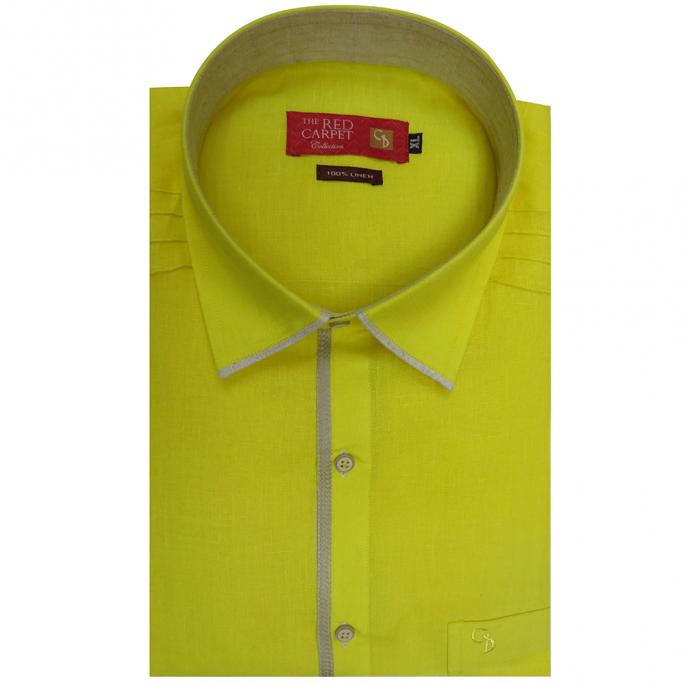 a linen lemon shirt,with horizontal self piping above the shoulder,self pleats running down the centre of the shoulder & pocket,looks trendy.