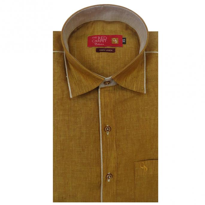 an amazing mustard linen shirt, with combination of white inside placket and collar,and shoulder,a fresh look in this unique shirt design.