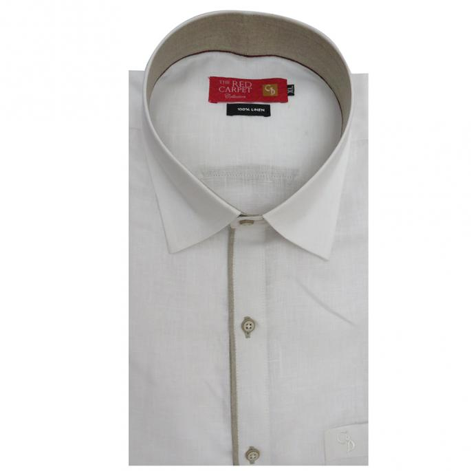 a amazing linen white shirt,with a simple embroidery down the front done in fawn,with piping on placket,collar plain outside,with fawn on the inside.