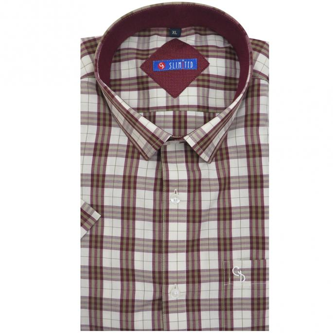 designed with polka dot print inside the collar this maroon and white check is ideal for office wear,team it with dark trouser for a sharp look.