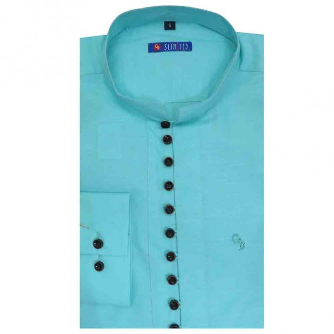 Flaunt your new stylish shirt style kurta in luxurious cotton with button design on the front placket Looks ceremonial when worn with white jodhpurs