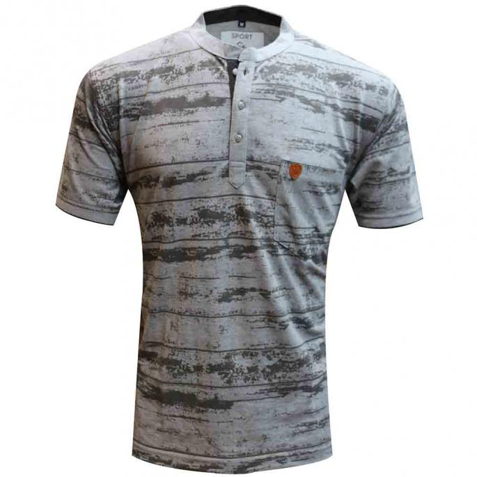 A PRINT LIGHT GREY  TSHIRT WITH EMPEROR COLLAR & POCKET...PAIR IT WITH DENIMS FOR TRENDY CASUAL LOOK