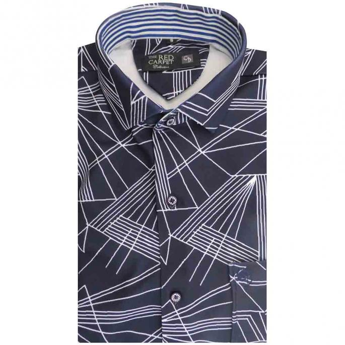an irresistible navy blue shirt,with white digital design,with a small collar,blue stripes on the inside collar,very versatile fabric,lycra.