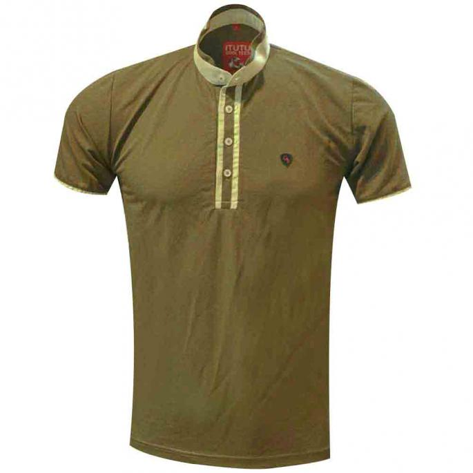 plain green tee designed with an attractive chinese collar,a staple pick for an adventure escapade,this goes well with a pair of shorts and slipons.