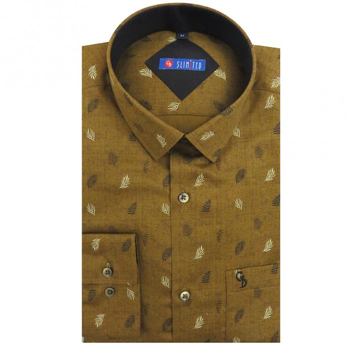 a self design brown slim fitted shirt with black and white leaf printed all over and dark brown inside the collar, a patch pocket, a curved hem