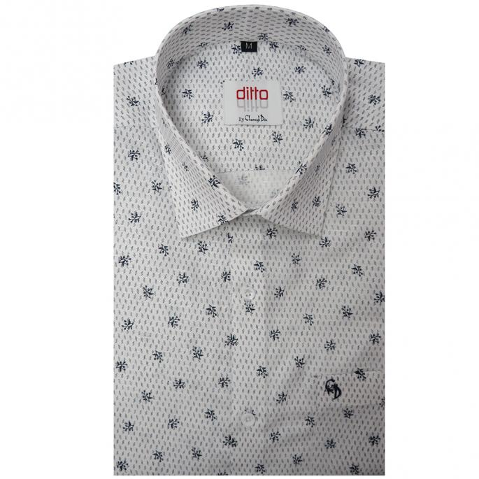 Pure white shirt printed with black and grey leaves in soft cotton fabric,matching buttons,pair it with your brown chinos .