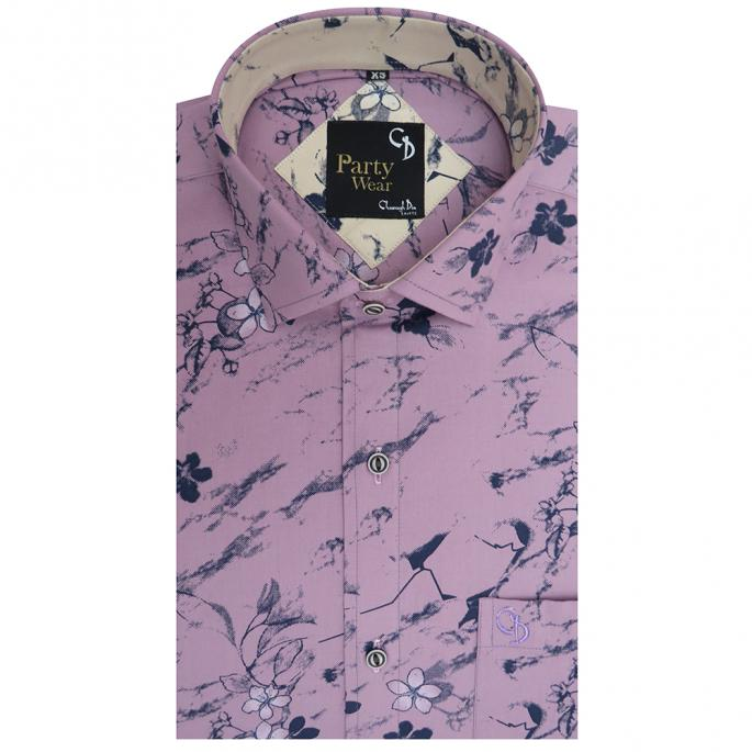 Party shirt with pink base and dark blue flower print with white shade and cream flower print on the inside of the collar