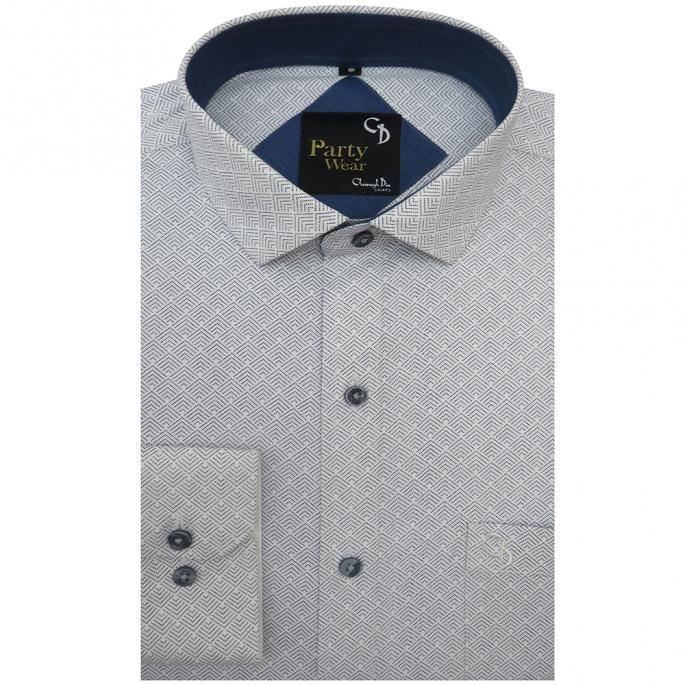 a blue printed party shirt with blue dots,made in an arrow design,with navy on the inside of the collar.pair it with denims for casual wear.