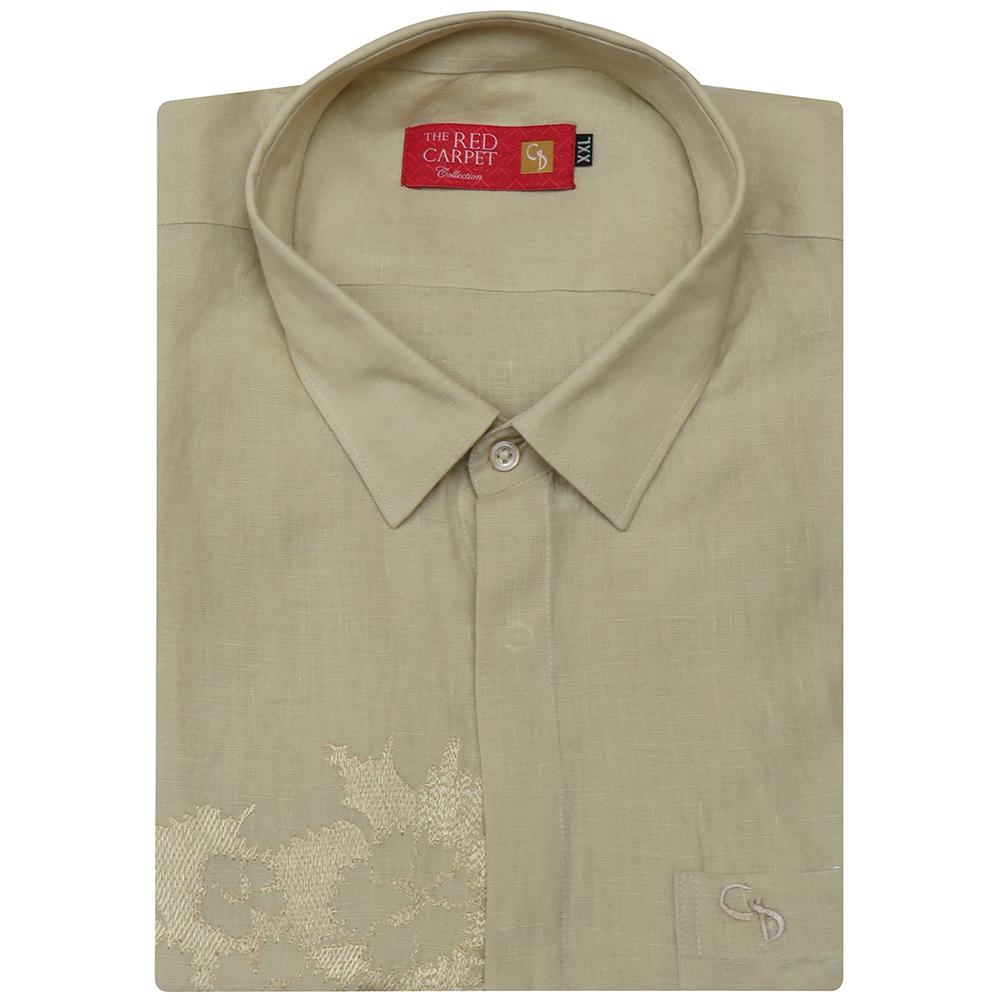 an irresistible linen fawn shirt,with hand embroidery on one side of the chest,look cool and trendy in this style crafted specially by Charagh din.