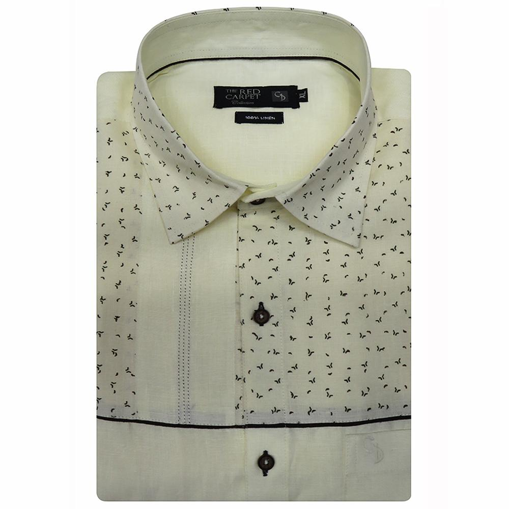 a amazing cream linen shirt,with the top half having a grey print,broken with saddle stitching,collar is also printed,a unique shirt.