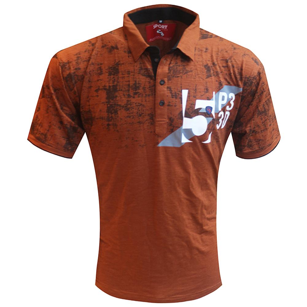 A PRINT RUST TSHIRT WITH COLLAR & POCKET, PAIR IT WITH DENIMS FOR INSTANT CASUAL LOOK