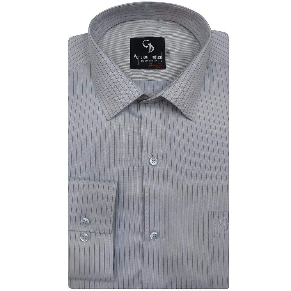 stripe grey shirt,crafted in pure blend,light grey combination inside the collar, front placket and patch pocket.