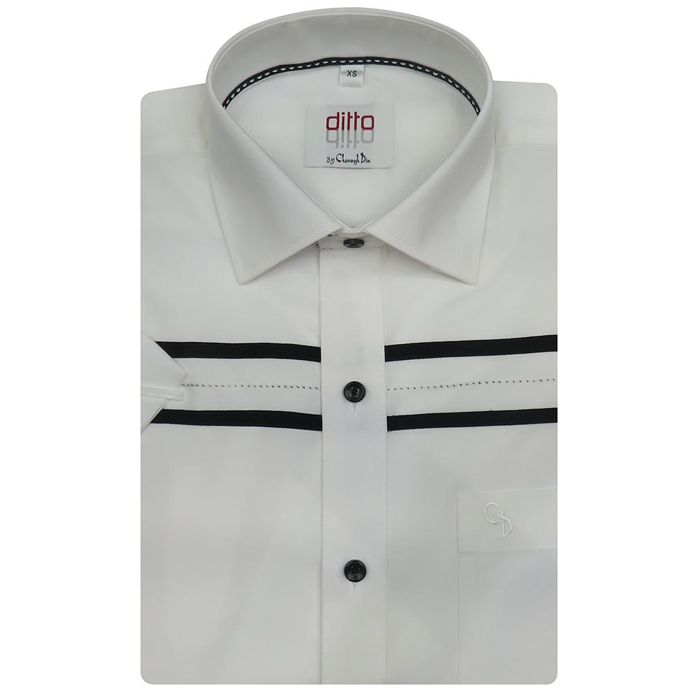 A cool short white shirt with black horizontal stripes on the upper chest,decorated with saddle stitching,collar inside black piping, for summer day.
