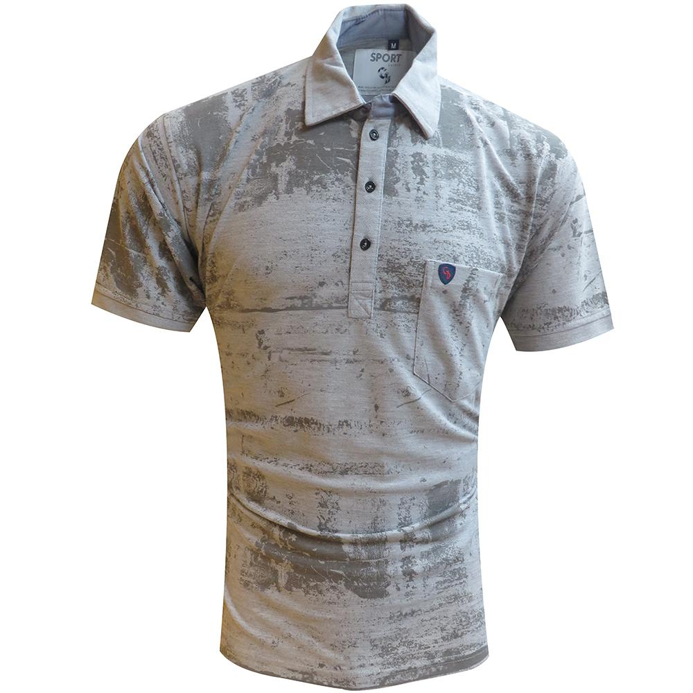 A PRINT GREY  TSHIRT WITH COLLAR & POCKET, SUPER SOFT COTTON TSHIRT TO PAIR WITH YOUR DENIMS FOR INSTANT CASUAL LOOK......