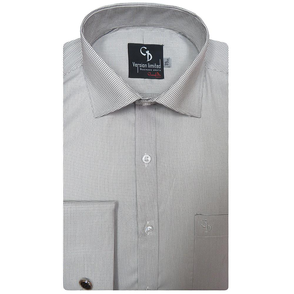 a self design grey shirt featuring double cuffs,front placket and patch pocket,wear this shirt with black trousers for comfort and style.