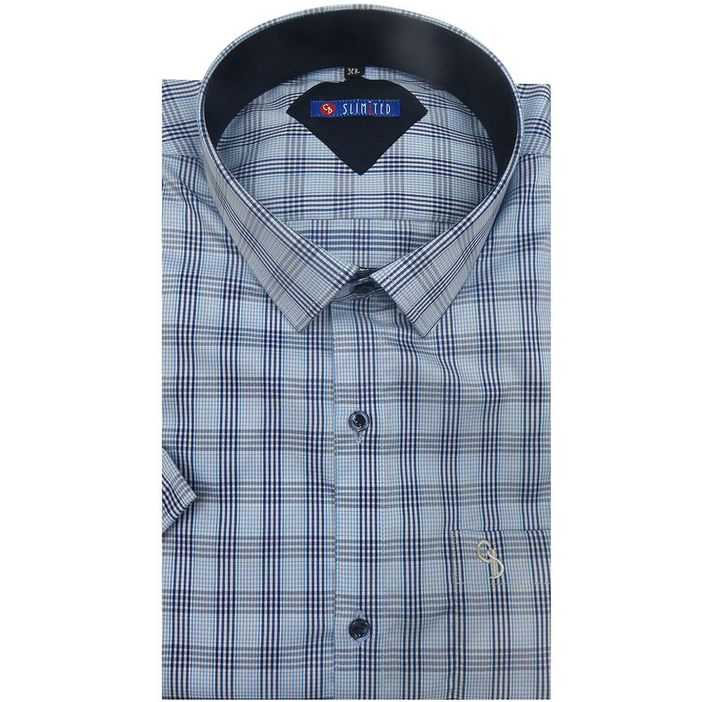 Creatively designed for the cool elite man,this light and dark blue check will not fail to impress,with curved hem,which gives it a distinct look