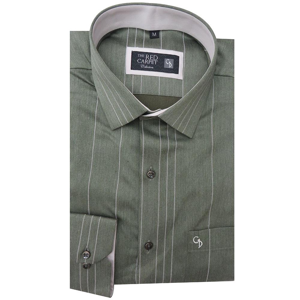 Green Shirt With White Vertical stripes on front,you Can Fall In Love With this Fabric....soft,luxurious,matching buttons,superb finish,Worth Buying.
