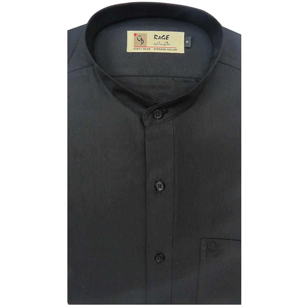 black is a smart colour to wear at evening parties or weddings.This black shirt with mandarin collar on it and it look best on light chinos.