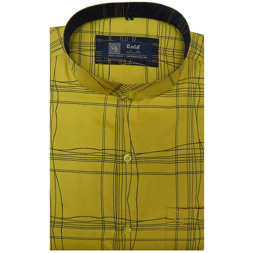 Unique and different,this lemon shirt has a black design on it.Team it with smart black trousers and casual shoes for an evening at the club.