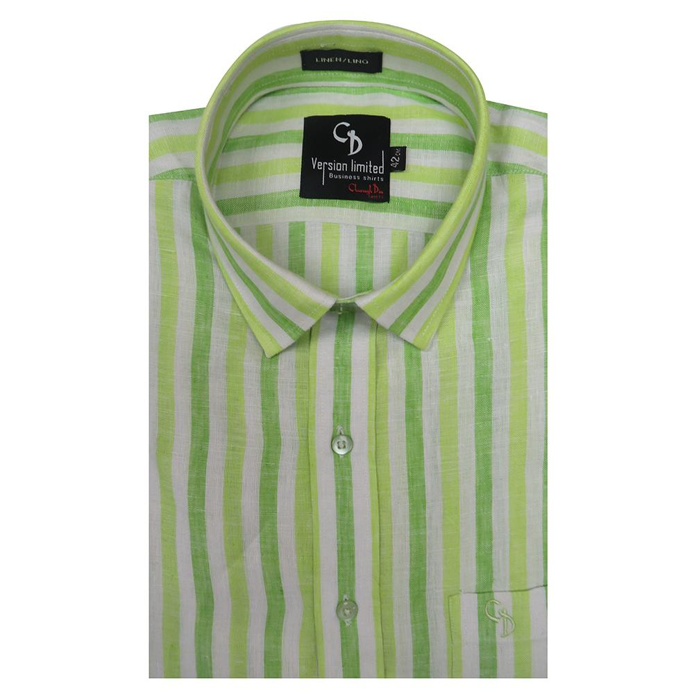 This green and lemon stripes shirt is crafted from pure linen,which gives it a luxuriously smooth texture and a soft feel against the skin.