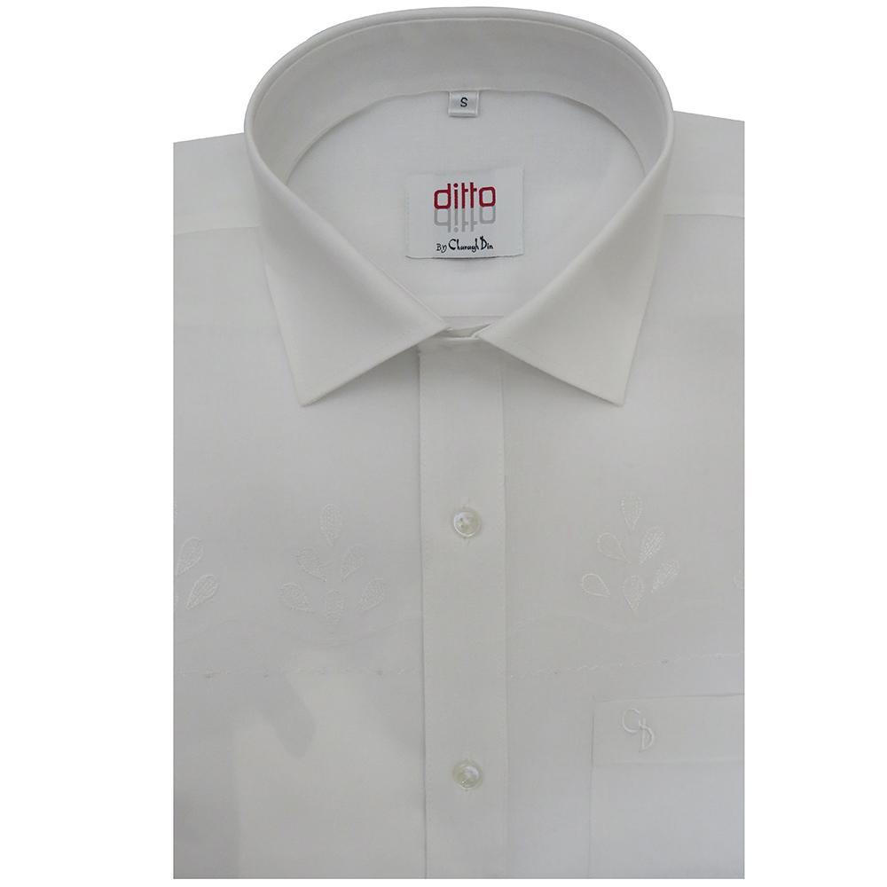 an irresistible crisp white shirt, with self embroidery on chest,a white shirt goes effortlessly with any ensemble,even dressed down with denim