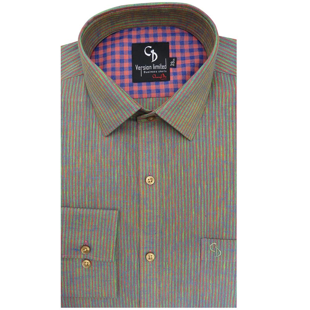 fawn stripe shirt,linen look alike shirt,with elegant collar and combination inside the collar,make a style statement.