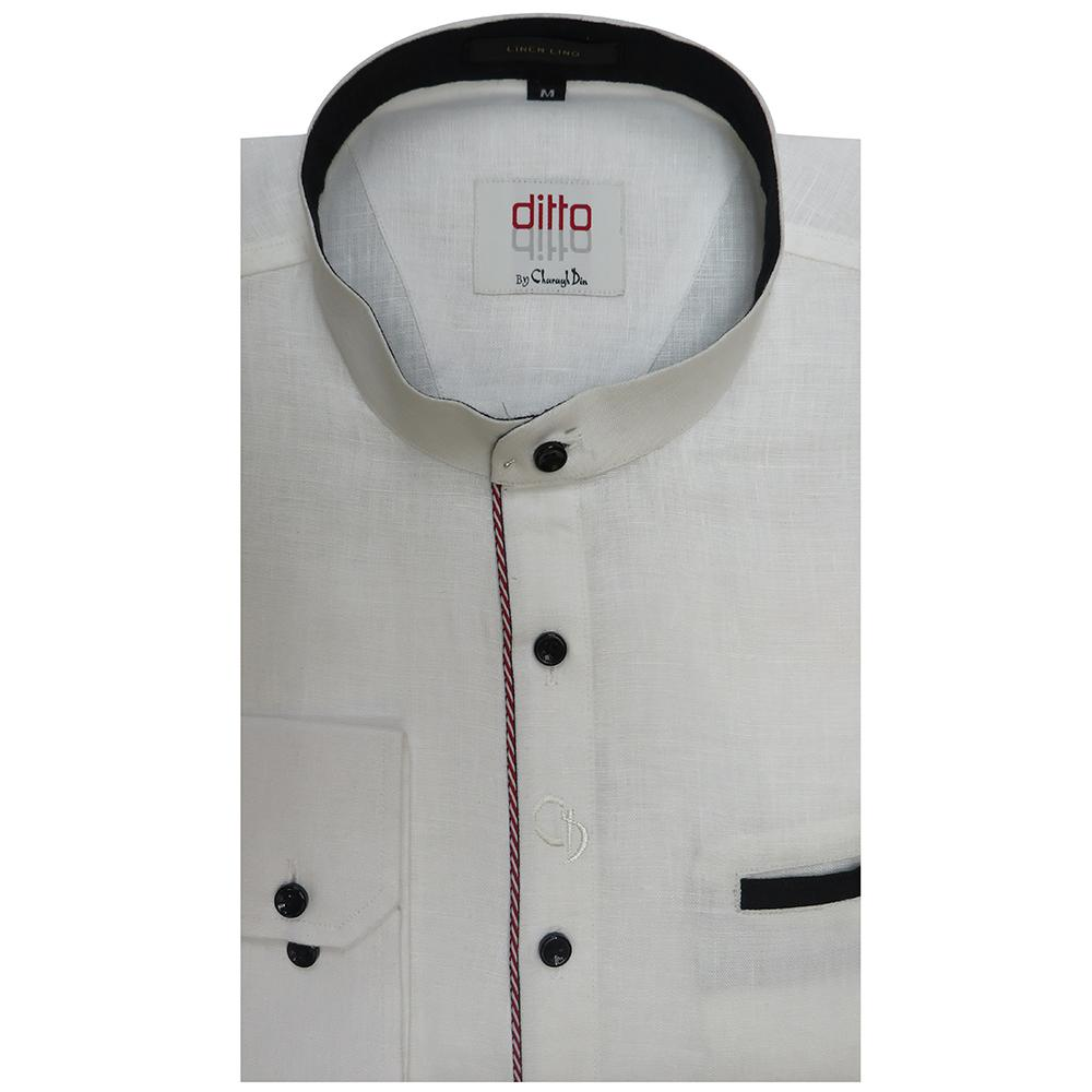 an irresistible linen white round neck shirt,with piping on front placket in maroon,and pocket and collar done in black,looks cool and trendy.