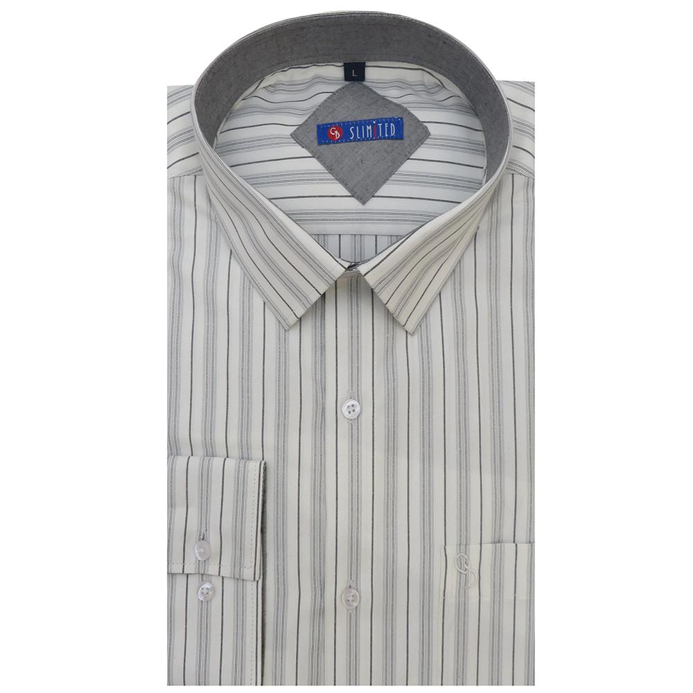 this grey and white stripe shirt epitomises modern razor-sharp tailoring and with grey inside the collar,great for everyday use