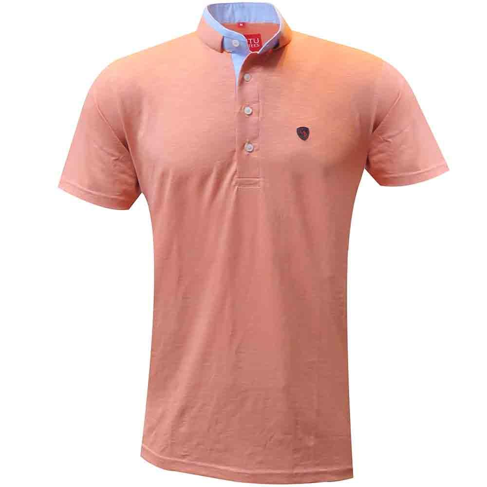 add fun to your casual collection with this peach slimfit tee.Team this tee with a distressed jeans or trousers for a relaxed look.