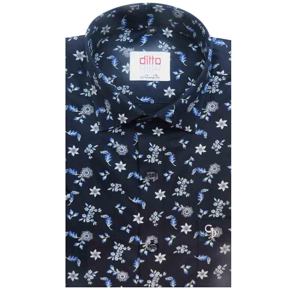 an irresistible navy blue background shirt,with white and blue floral prints all over,this is a sundowner favourite, breathable and lightweight