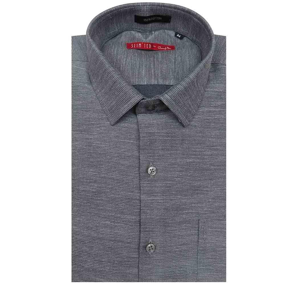 a self design grey slim fitted shirt with an elegant collar, a patch pocket, a curved hem.team it with a pair of light trousers to complete your look.