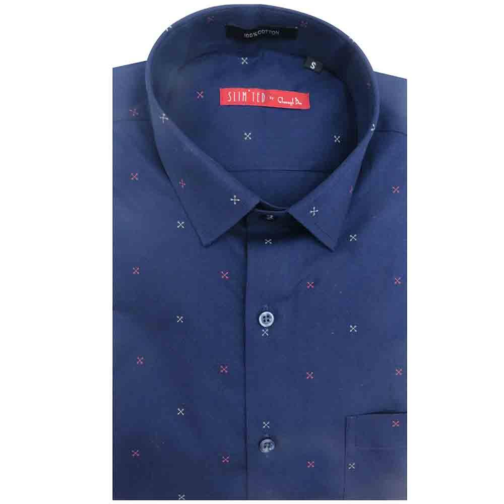 a midnight blue,slim fit shirt printed with crossed arrows in white & red,this is the ideal shirt for the perfect weekend.pair it with slim fit jeans.