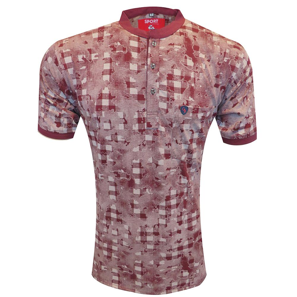 A PRINT  MAROON  TSHIRT WITH  EMPEROR COLLAR & POCKET....EXPERIENCE SHEER COMFORT BLENDED WITH STYLE BY WEARING THIS TSHIRT.......