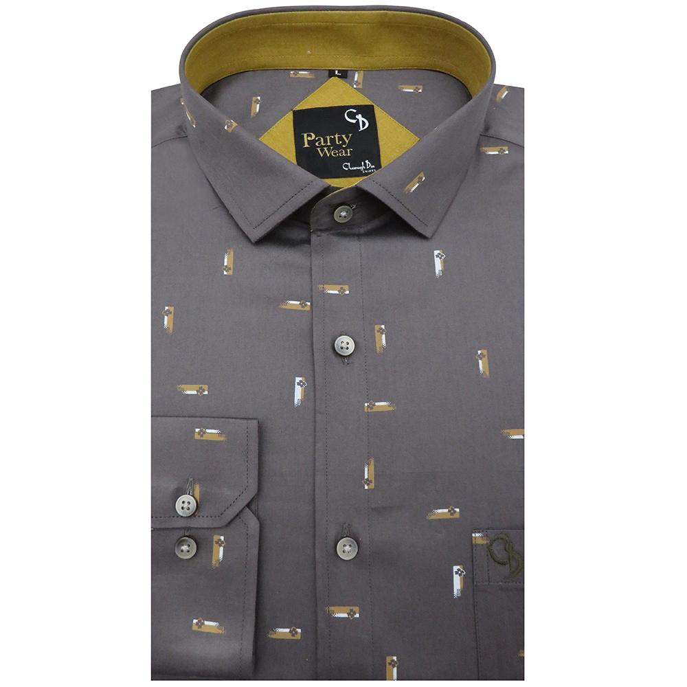 Floral printed grey party shirt with grey base flowers in white & brown strokes,stylishly put plain khaki on the inside of the collar.