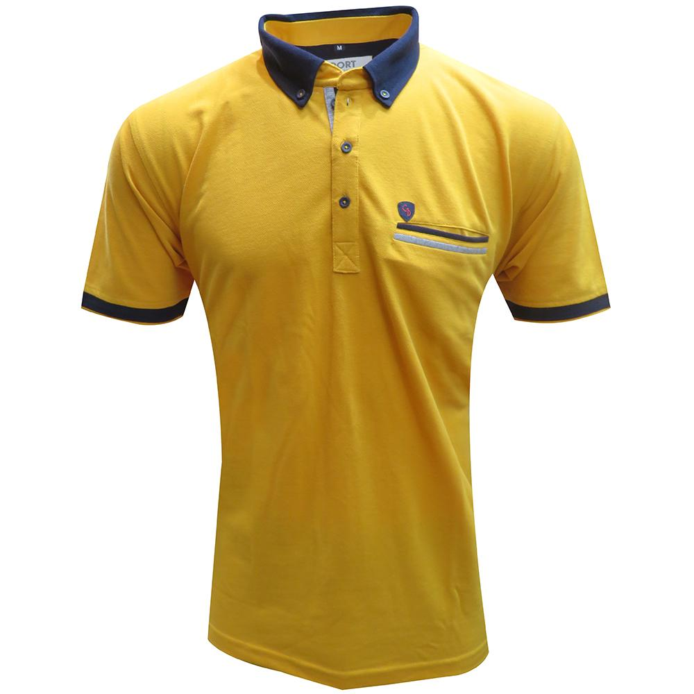 A COMBINATION MUSTARD TSHIRT WITH POCKET.... BUTTON DOWN COLLAR FOR TRENDY CASUAL LOOK.